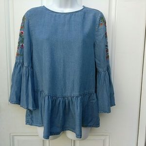 Beach Lunch Lounge Embroidered Tunic Bell Sleeve